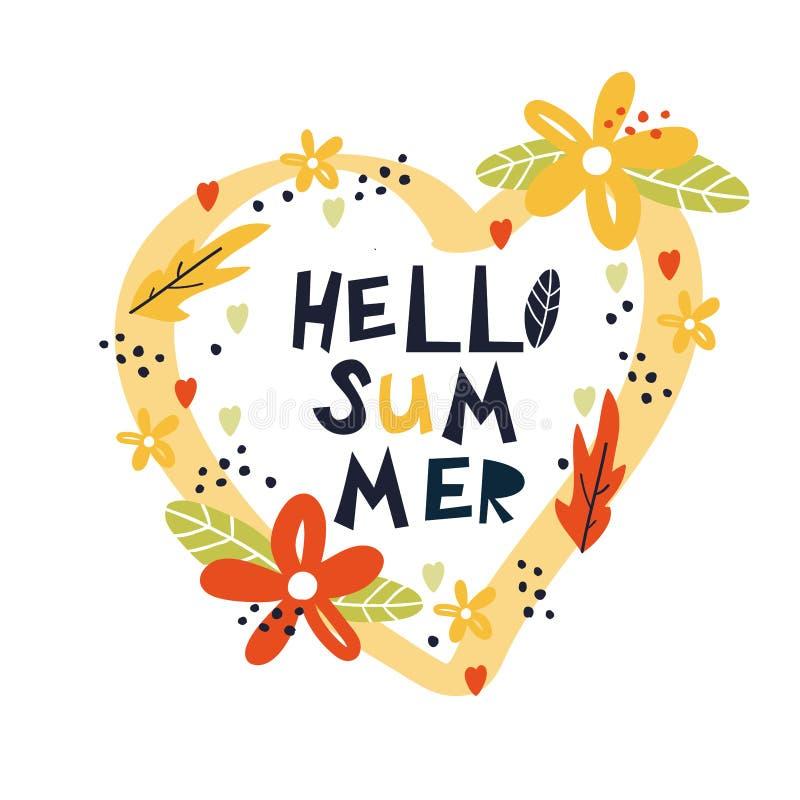 Hello-de zomerhand getrokken druk vector illustratie