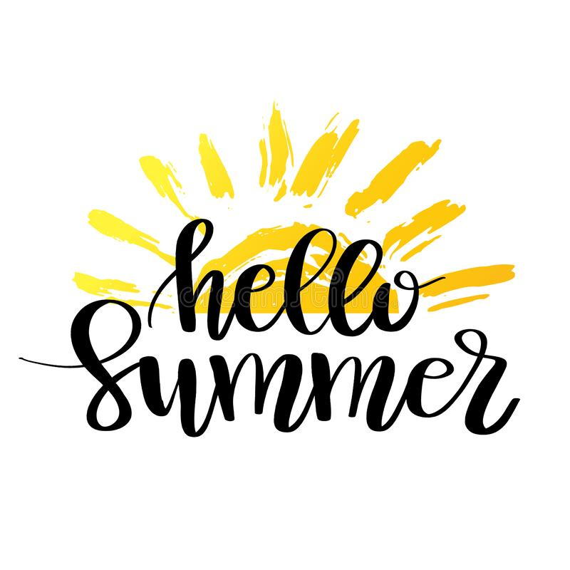Hello-de zomerhand het getrokken borstel van letters voorzien Embleemmalplaatjes Geïsoleerd Typografisch Ontwerpetiket met zwarte stock illustratie