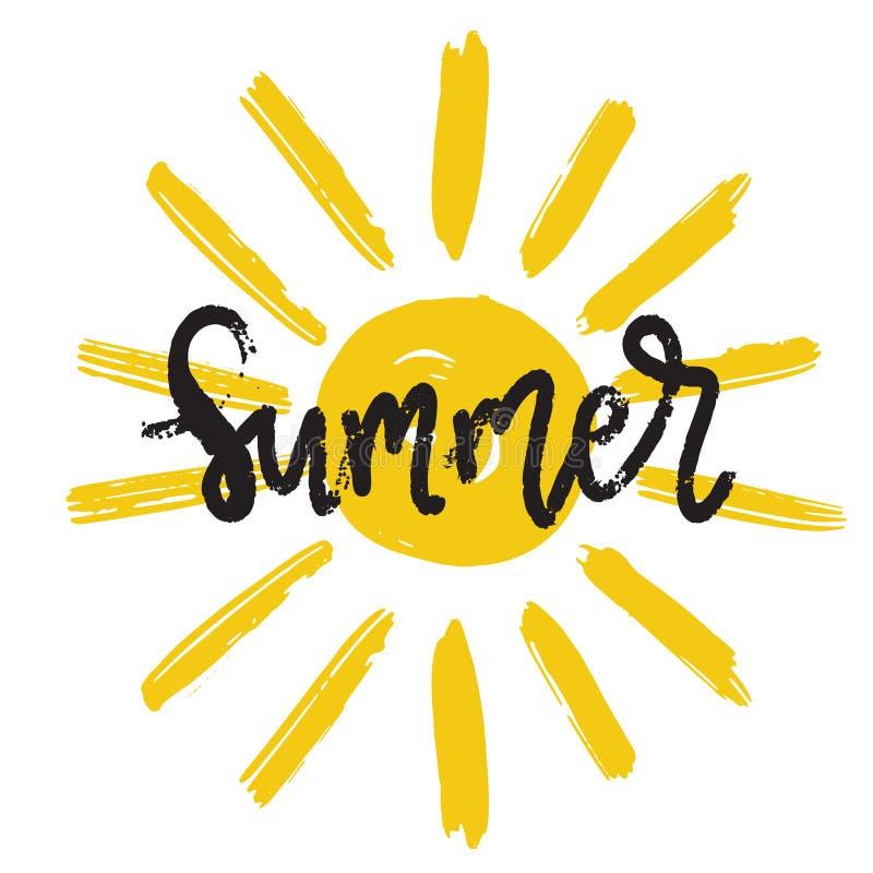 Hello-de zomerhand het getrokken borstel van letters voorzien Embleemmalplaatjes Geïsoleerd Typografisch Ontwerpetiket met zwarte vector illustratie