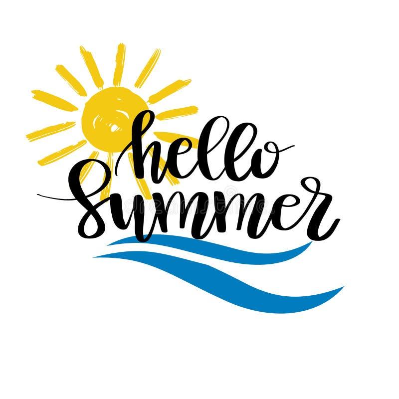 Hello-de zomerhand het getrokken borstel van letters voorzien Vectorembleemmalplaatjes Geïsoleerd Typografisch Ontwerpetiket met  royalty-vrije illustratie