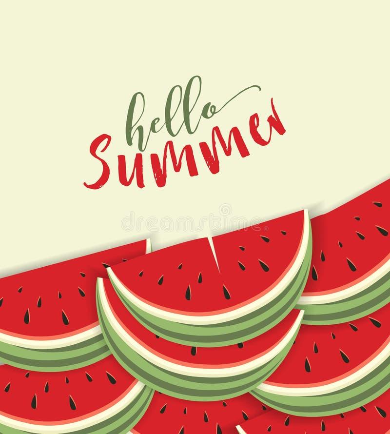 Hello-de zomerkaart met meloen vector illustratie