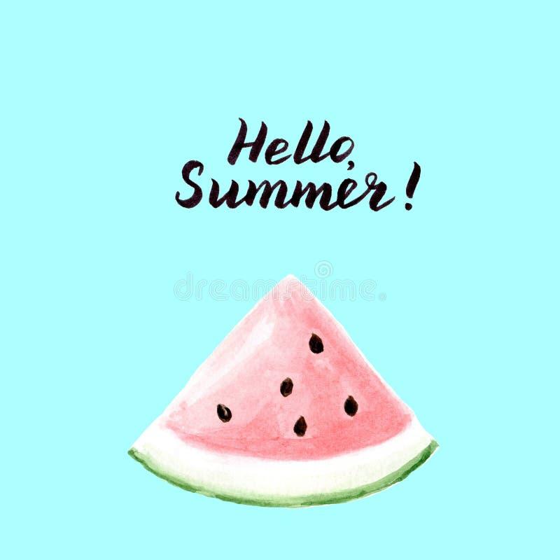 Hello-de zomerkaart met de plak van de watermeloendriehoek op blauwe achtergrond stock illustratie