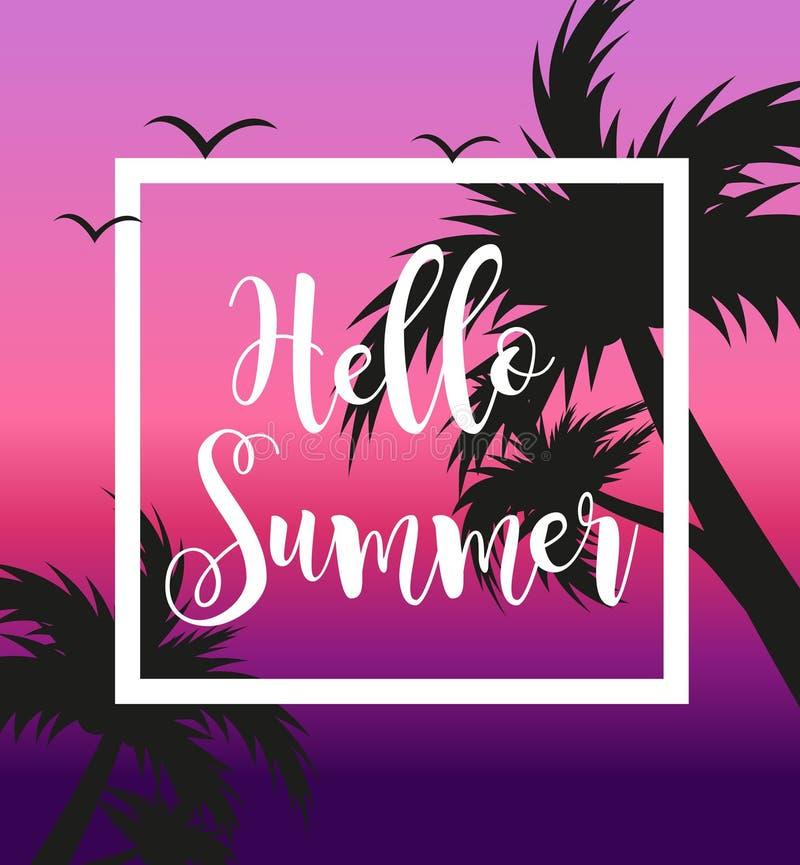 Hello-de zomermalplaatje voor affiche in wit kader op een achtergrond van zonsondergang en palmen Strandconcept, vakantie royalty-vrije illustratie