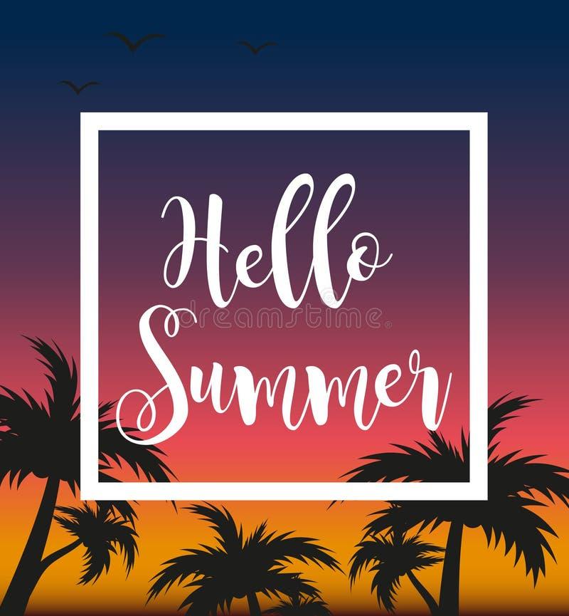 Hello-de zomermalplaatje voor affiche in wit kader op een achtergrond van zonsondergang en palmen Strandconcept, vakantie vector illustratie