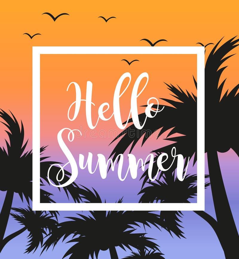 Hello-de zomermalplaatje voor affiche in wit kader op een achtergrond van zonsondergang en palmen Strandconcept, vakantie stock illustratie