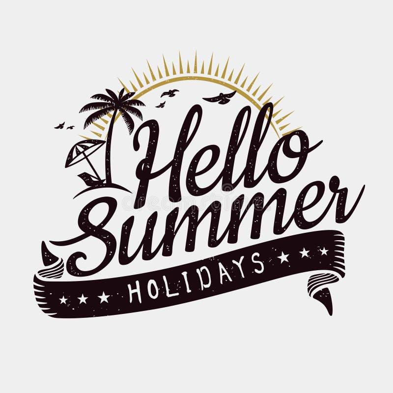 Hello-de zomerontwerp stock illustratie