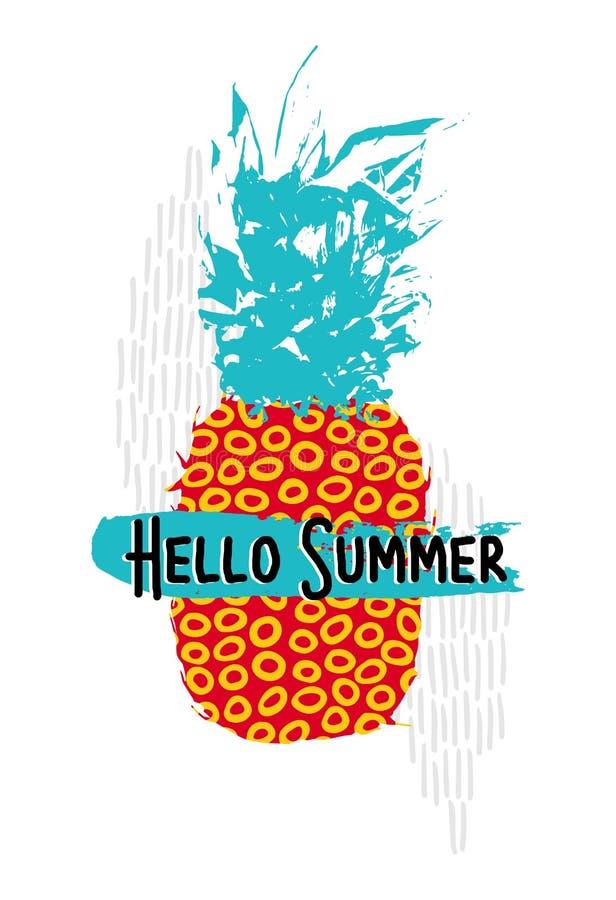 Hello-de zomerontwerp met kleurrijke retro ananas royalty-vrije illustratie