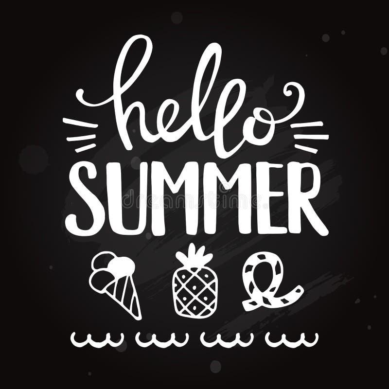 Hello-de zomeruitdrukking Bord die vectorillustratie van letters voorzien royalty-vrije illustratie