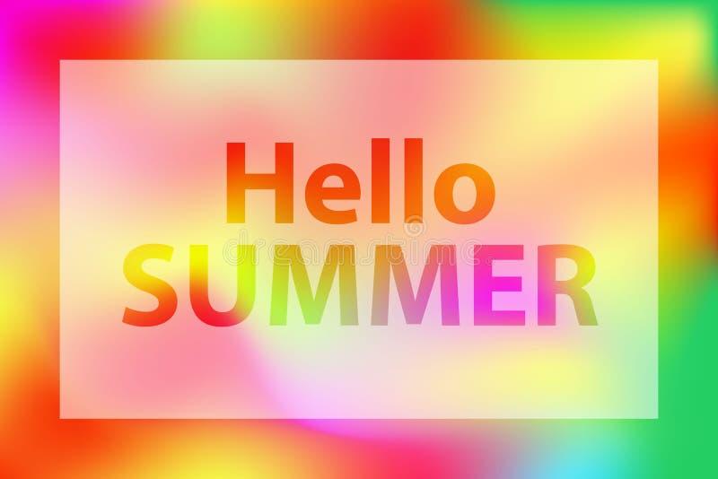 Hello-de zomerwoorden op een heldere rood-oranje en groene vage achtergrond stock illustratie