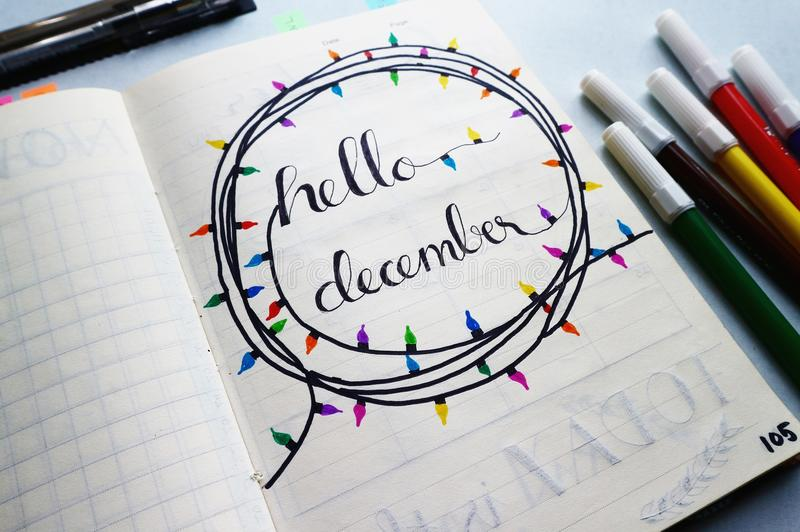 Hello December Calligraphy stock photo