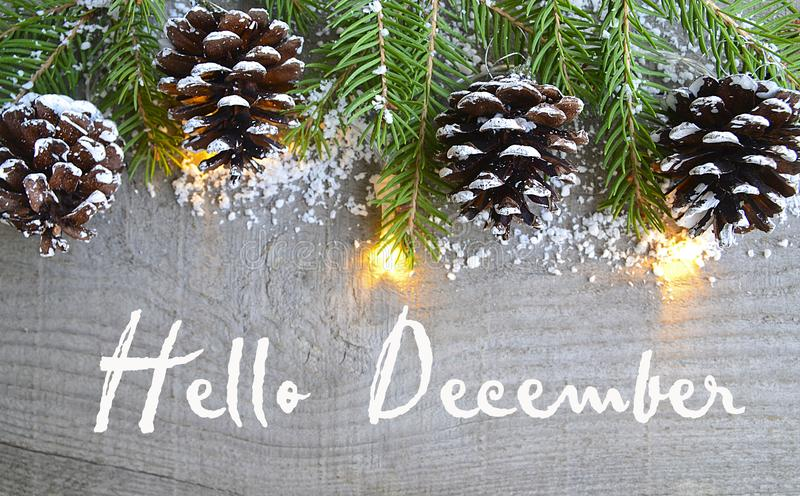 Hello December.Christmas decoration on old wooden background.Winter holidays concept. Selective focus stock image