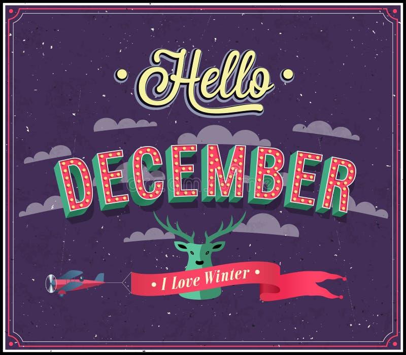 Download Hello December Typographic Design. Stock Vector - Illustration of illustration, deer: 35512851
