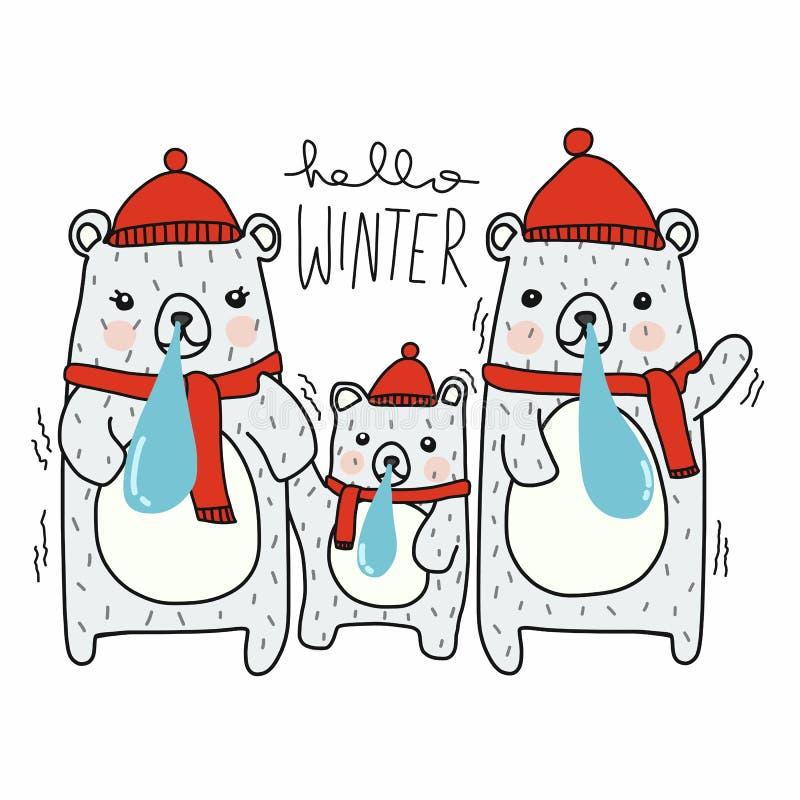 Hello-draagt het de winter leuke wit de vectorillustratie van het familiebeeldverhaal vector illustratie