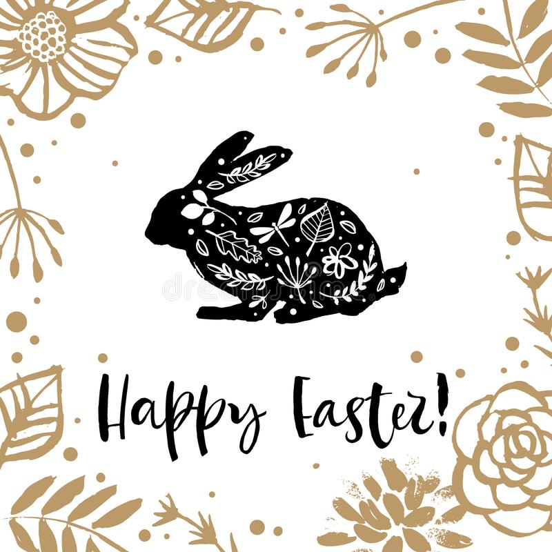 Hello Easter. Running silhouette of a rabbit in the flower circle. Calligraphy card. Hand drawn design elements. Handwritten mode royalty free illustration