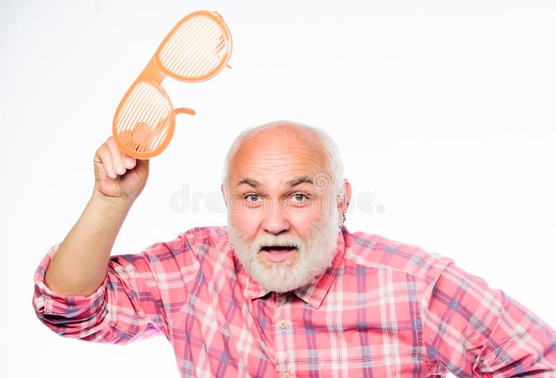 Hello everyine. happy birthday. corporate party. anniversary. holiday celebration. mature bearded man isolated on white. Happy man with beard. retirement party stock image