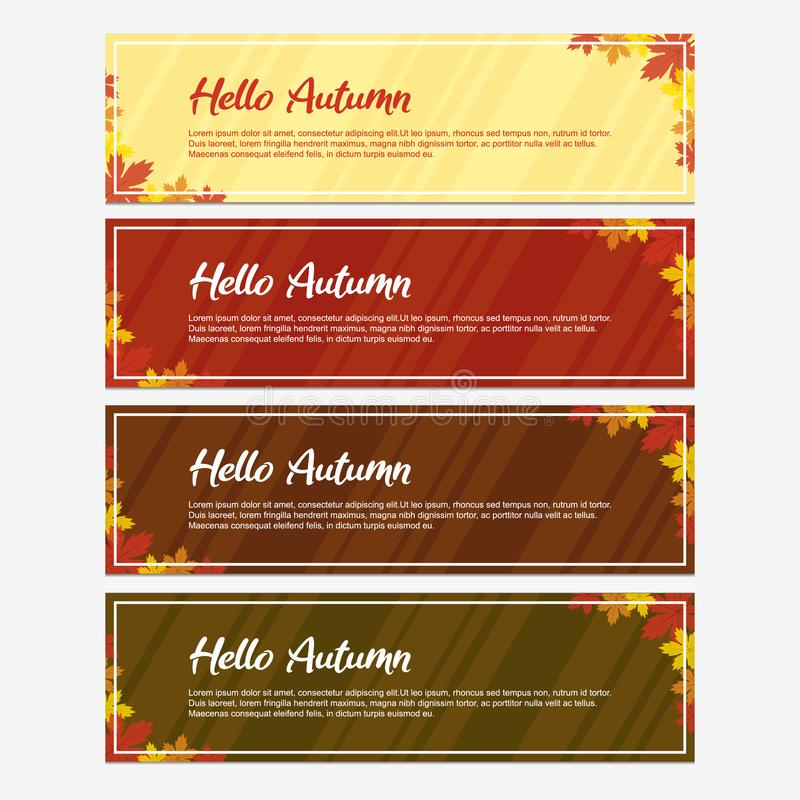 Hello Fall and Autumn Banner Design with Four Colors Background. Vector Illustration. Unique Banner with Red, Orange, and Yellow Maple Clip Art. Vector royalty free illustration