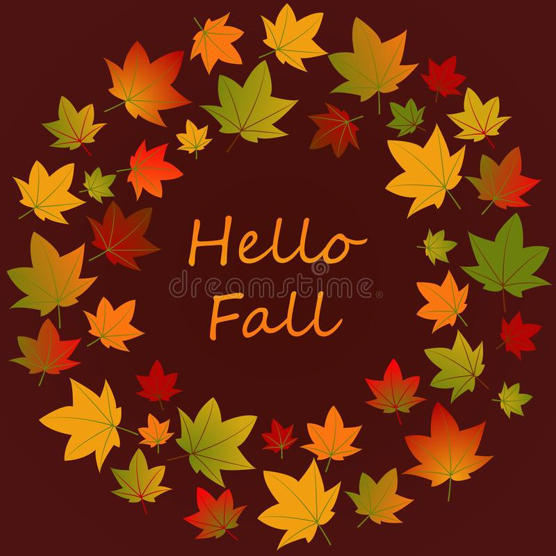 Hello Fall. Background with falling autumn leaves. Autumn round frame flat vector template with place for text. Fall season social. Media banner layout. Leafage vector illustration