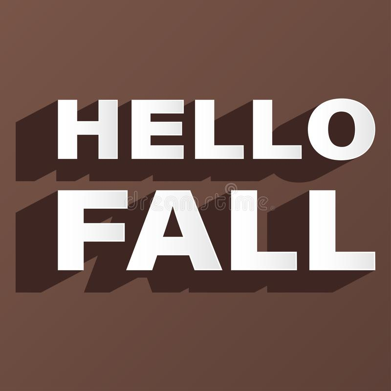 Hello fall creative font brown background vector stock illustration