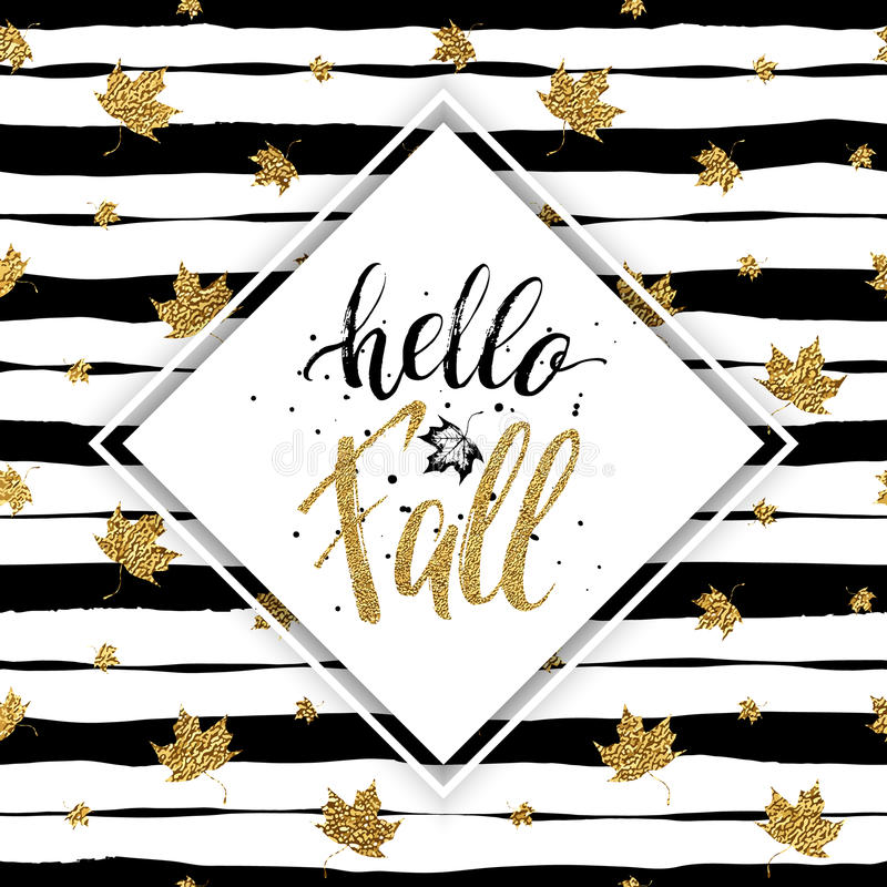 Hello Fall   Gold Text With Maple On Seamless Striped Background With Gold  Autumn Maples Leaves, Golden Lettering On Autumnal Linear Background With  Leaf, ...