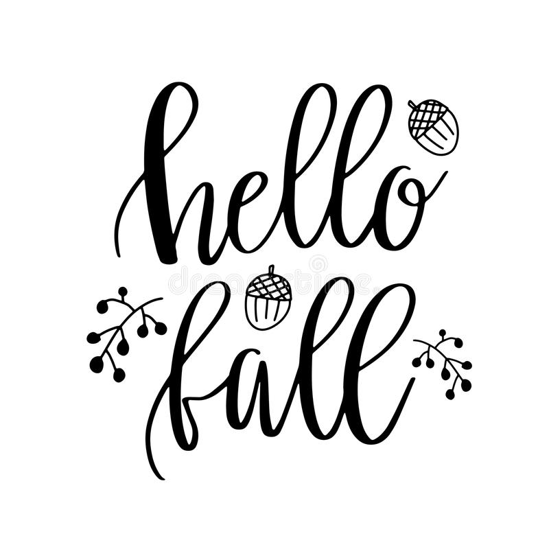 Hello Fall lettering text with autumn leaves and acorns. Hand drawn illustration. Black and white poster design elements.  royalty free illustration