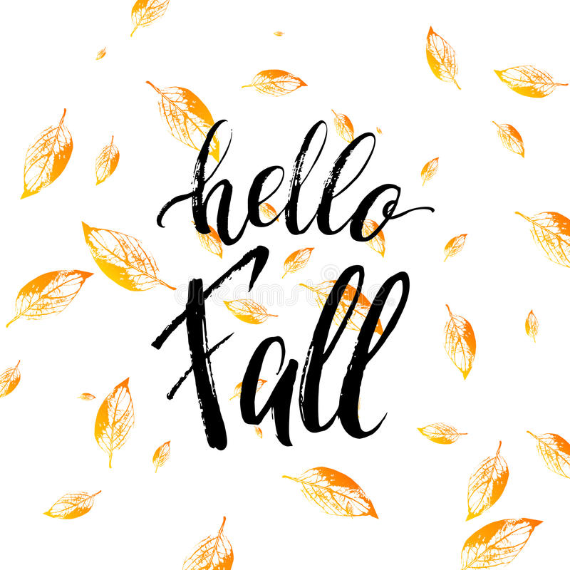 Hello fall text on orange leaves background royalty free illustration