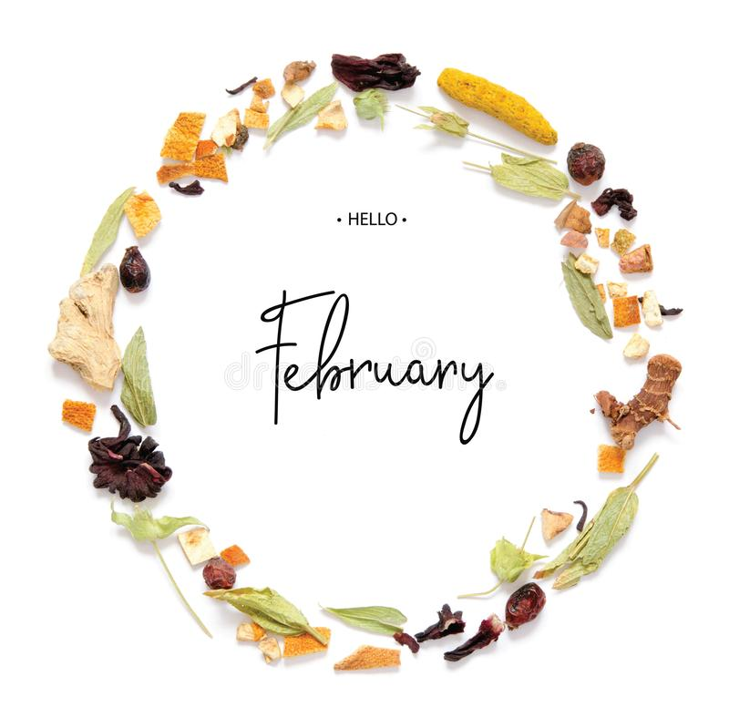 Hello February calligraphy inscription. Frame with herbal tea, dry herbs and flowers with pieces of fruit and berries royalty free stock photography