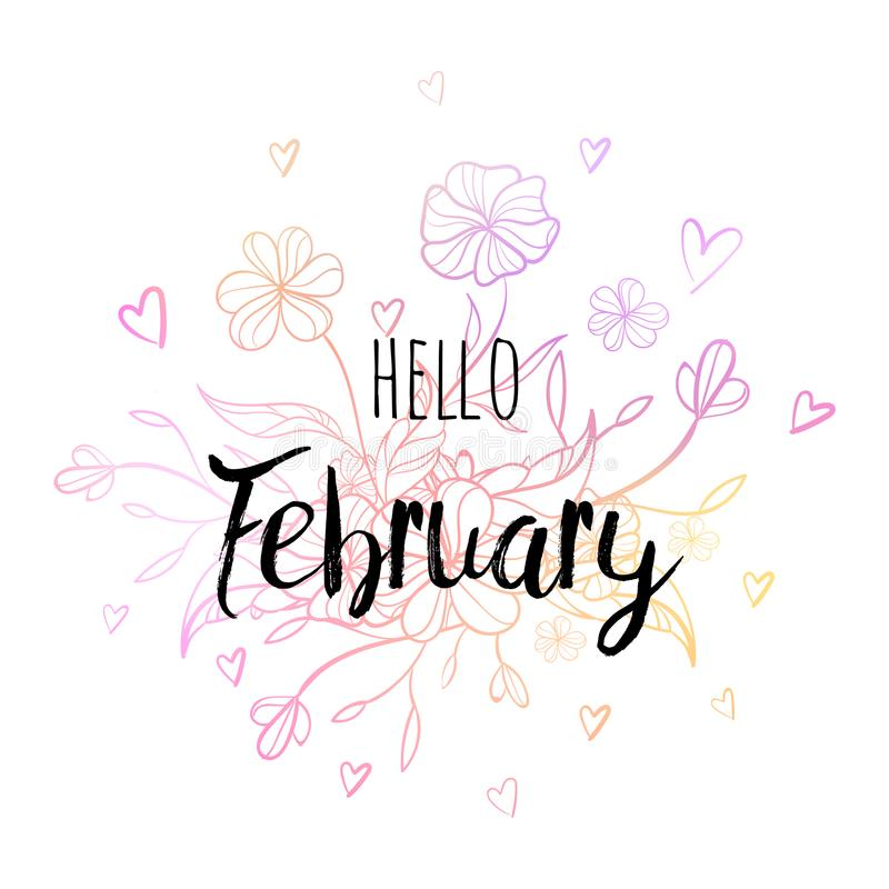 Hello February poster with flowers and hearts. Motivational print for calendar, glider. royalty free stock photos