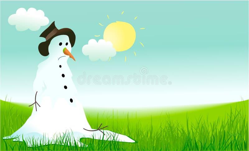 Hello fjädrar bakgrund med den ledsna snögubben royaltyfri illustrationer