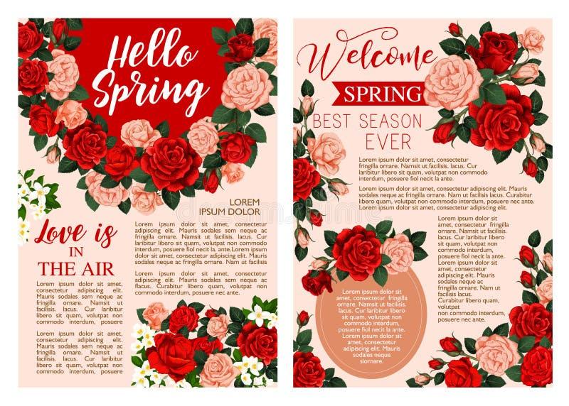 Hello fjädrar den blom- affischen med rosblommaramen royaltyfri illustrationer