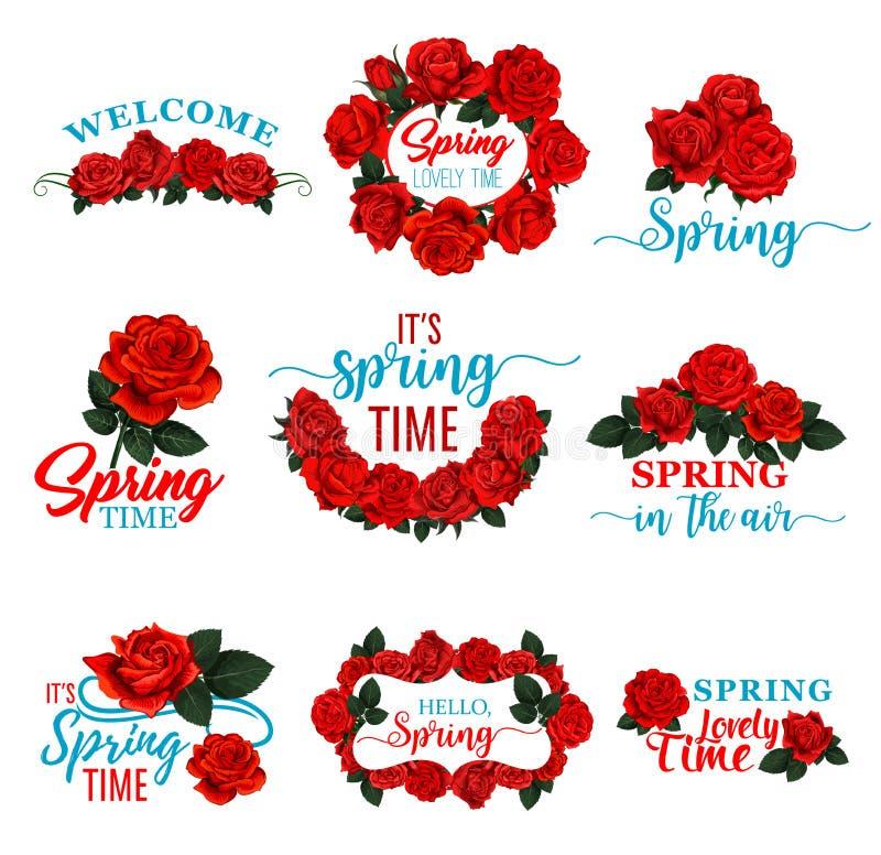 Hello fjädrar den blom- ramsymbolen av den röda rosblomman stock illustrationer