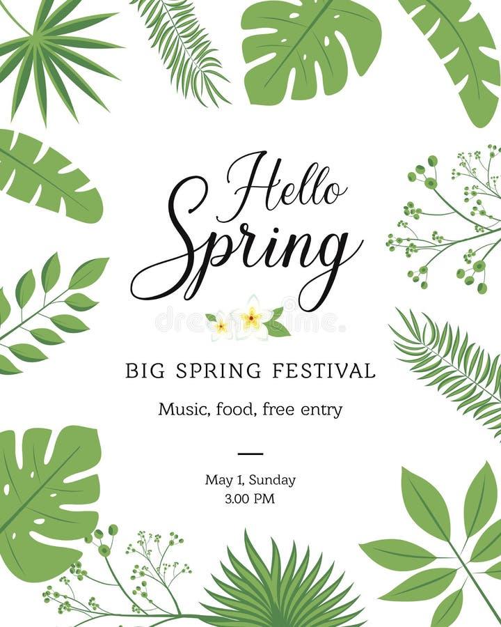 Hello fjädrar det festliga banret med vårsäsongblomman Det blom- hälsningkortet för vårferieteman planlägger med påskliljan, ro royaltyfri illustrationer