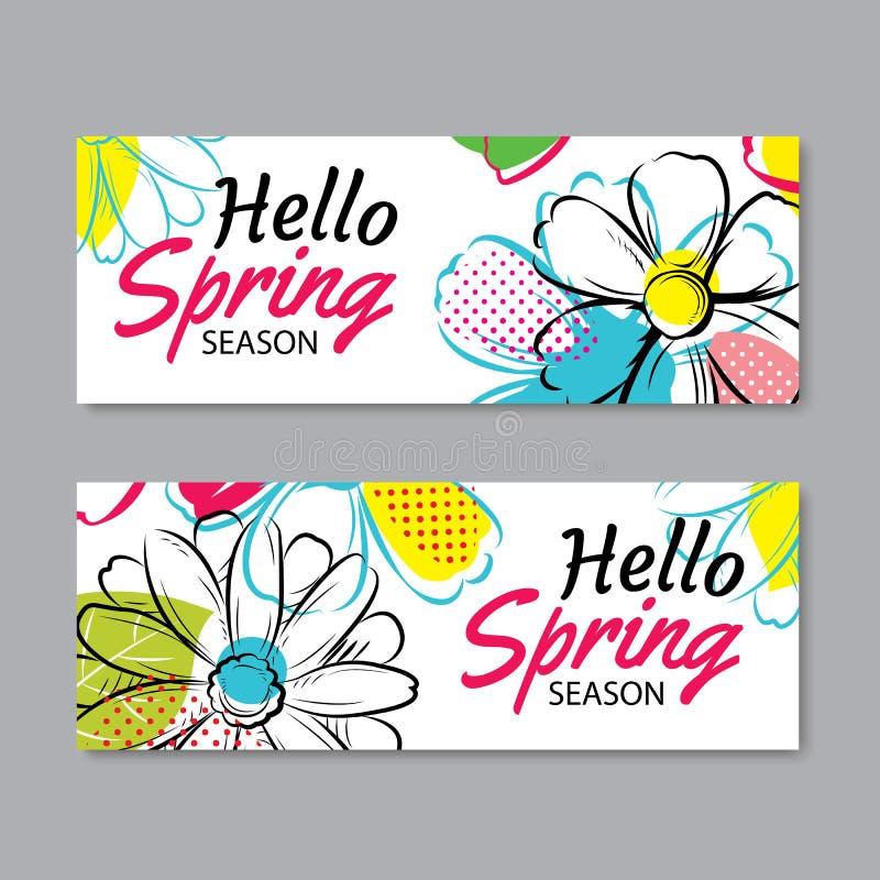 Hello fjädrar försäljningsbanermallen med den färgrika blomman Vara kan vi stock illustrationer