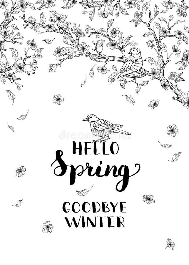 Hello fjädrar, farvälvintern! stock illustrationer