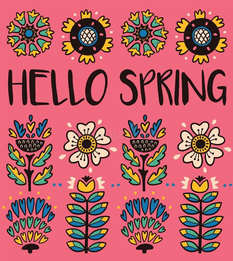 Hello fjädrar hälsningkortet med dekorativa blommor på rosa bakgrund stock illustrationer