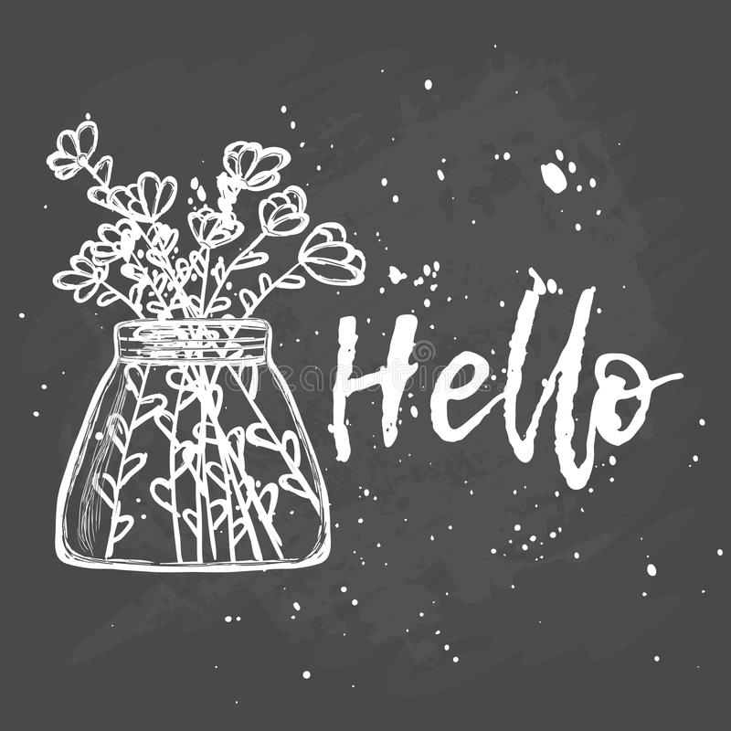 Hello. Flowers in a vase. Hand drawing. Illustration with chalk on a blackboard. calligraphy royalty free illustration