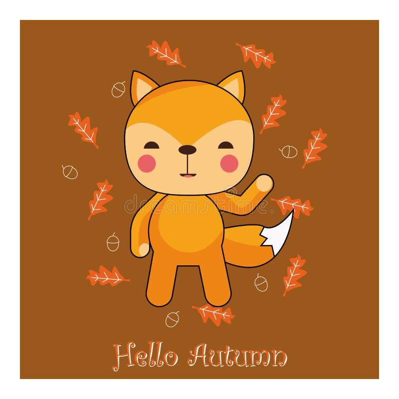 Hello höstbakgrund med vilda djur, vektor, illustration vektor illustrationer