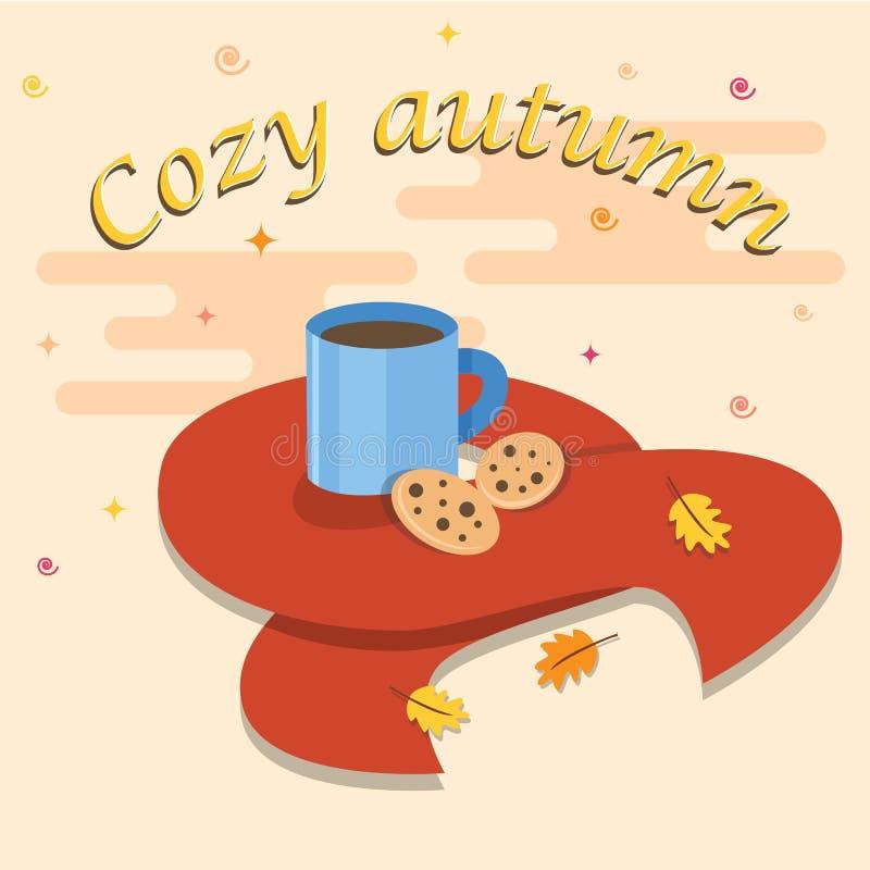 Hello höstkort Hälsningkaffebaner för höstbakgrund royaltyfri foto