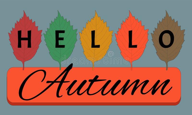Hello hösttext på färgrik hand drog sidor för björkträd på grå färger vektor illustrationer