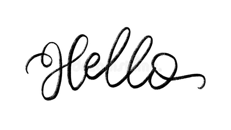 Hello. Hand Lettering word. Handwritten modern brush typography sign. Black and white. Vector illustration stock illustration