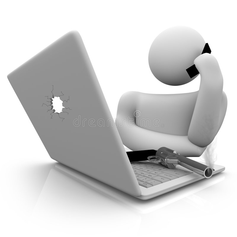 Hello... Help Desk?. A computer user calls into a help center to report an issue with his computer royalty free illustration