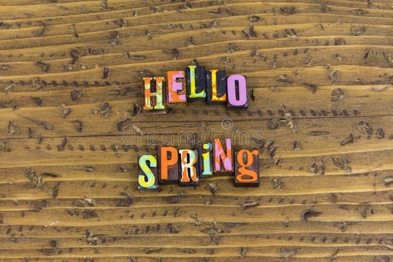 Hello-het geluk van de de lentezonneschijn stock afbeelding