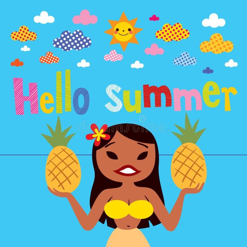 Hello-het meisje van de zomerhula vector illustratie
