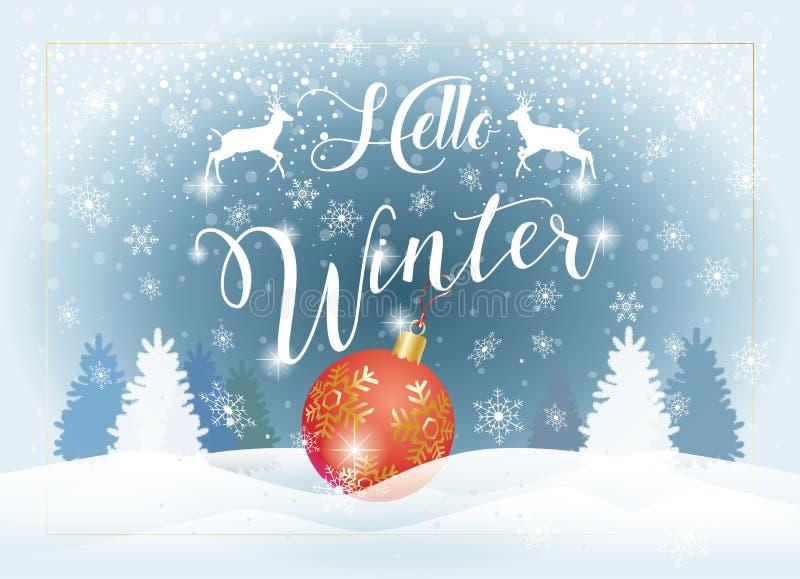 Hello-het Sneeuwlandschap van de de Wintervakantie royalty-vrije illustratie
