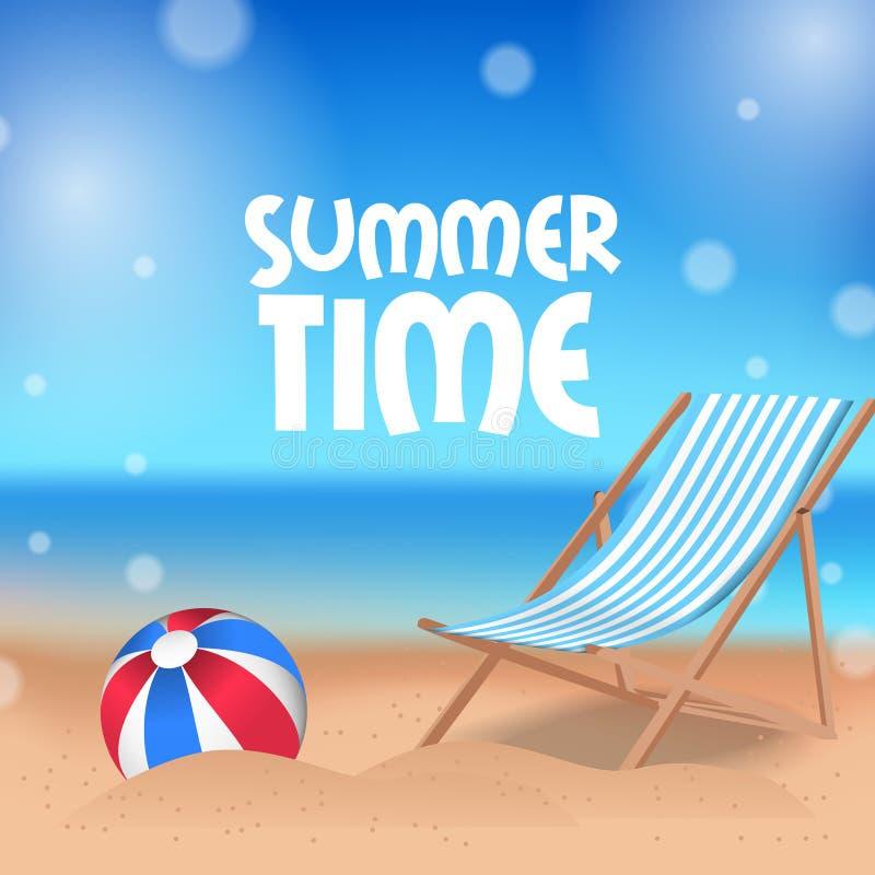 Hello-het tropische buiten mooie strand van de de Zomertijd met ballon en ligstoel op het zand stock illustratie