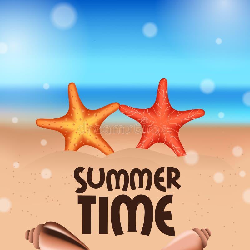 Hello-het tropische buiten mooie strand van de de Zomertijd met ballon en ligstoel op het zand vector illustratie