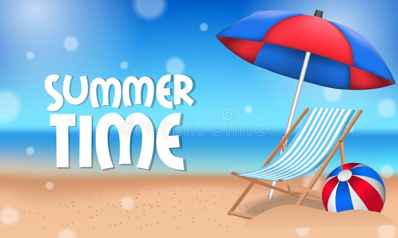 Hello-het tropische buiten mooie strand van de de Zomertijd met paraplu en ligstoel op het zand royalty-vrije illustratie