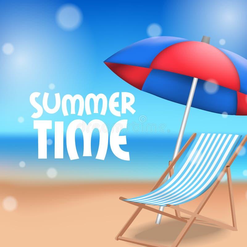 Hello-het tropische buiten mooie strand van de de Zomertijd met paraplu en ligstoel op het zand stock illustratie