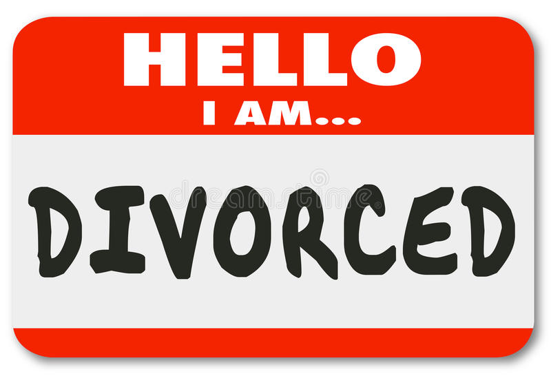 Hello I Am Divorced Separated Marriage Ended Nametag royalty free illustration