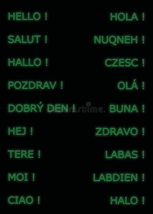 Hello i många språk, i grön färg royaltyfri bild