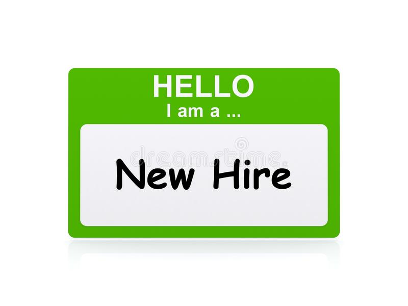Hello I am New Hire. A green name tag with the text 'Hello I am a ... New Hire royalty free stock photo